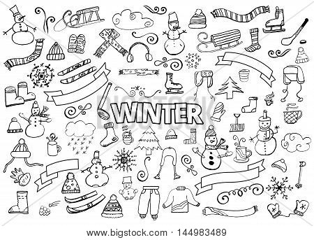 Winter doodles collection. Stylish design elements. Snowman, Snowflakes, Skies, scarf hot drinks Coffee Late