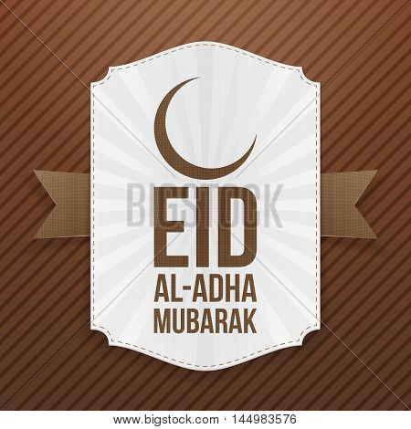 Paper Label with Eid al-Adha Text and Crescent. Vector Illustration