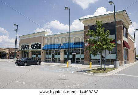 brick and stucco strip mall