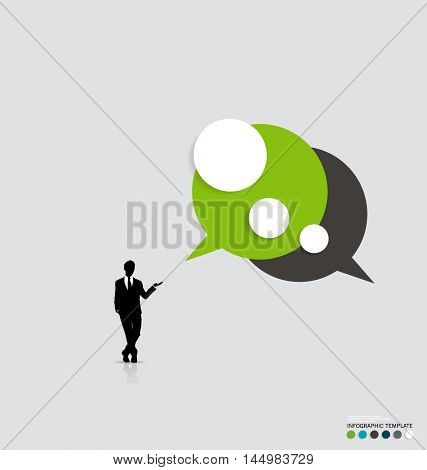 Modern infographics template style. Businessman with bubble speech. Vector illustration.