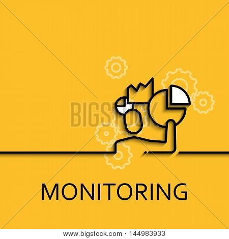 Vector business illustration in linear style with a picture of monitoring as men and chart, diagram on yellow background poster or banner template.