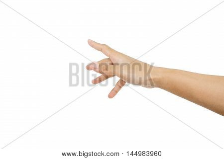 Hand reaching finger, asian tan skin, isolated on white background