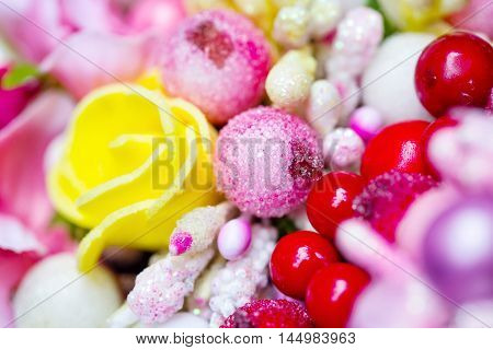 Background of flowers and balls shot with selective focus