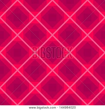 Seamless vector background with rhombus pink color pattern, repeated fabric backdrop with abstract geometric checkered rhomb ornament design