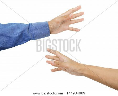 Hands grab with tan skin, isolated on white background