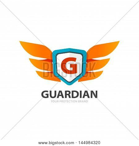 Guardian protection logo isolated on white background, flat wings with shield and letter G emblem, concept of protect symbol, security logotype element, creative trendy brand design