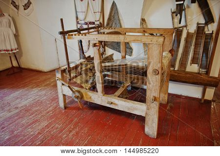 Homespun Weaving Hand Loom For Carpets In Castle Palanok, Transcarpathia. Ukraine, Europe