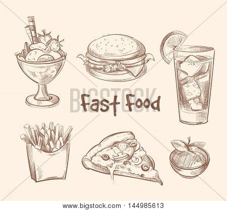 Fast food vector set in hand drawn sketch style. Burger and hamburger, pizza and ice cream illustration
