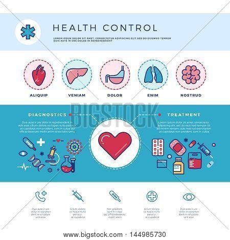 Health control technology, medicine healthcare vector concept for web design. Medical diagnostics and treatment illustration