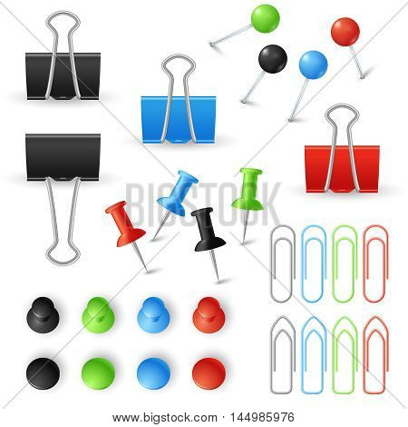 Paper clips, binders and pins vector set. Stationery tools for office work with documents illustration