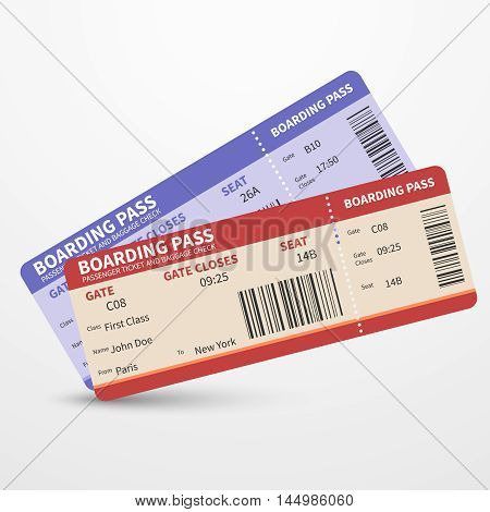 Airline boarding pass tickets to plane for travel journey pr holiday. Vector illustration