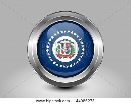Flag Of Dominican Republic. Metal And Glass Round Icon