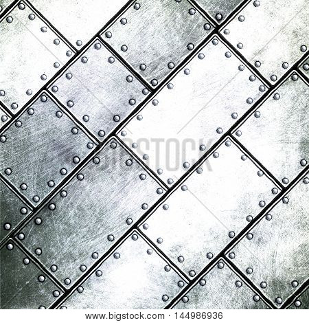 grunge metal plate with pin 3d illustration. background and texture.