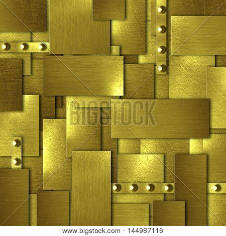 shiny gold fix wall. gold background and texture. 3d illustration.