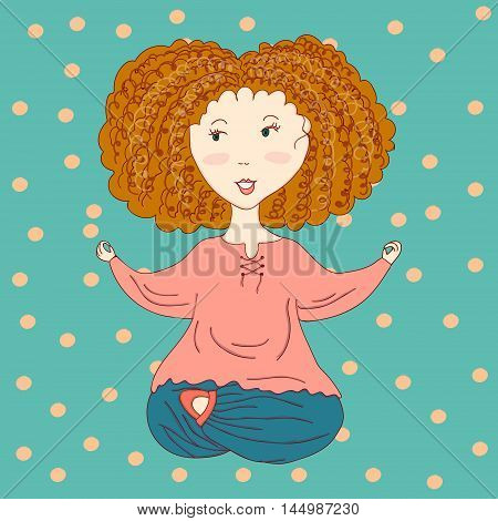 Vector illustration of a little yoga fan isolated on blue spotted background. Design element illustration for thematic sources (yoga healthy lifestyle body positive).