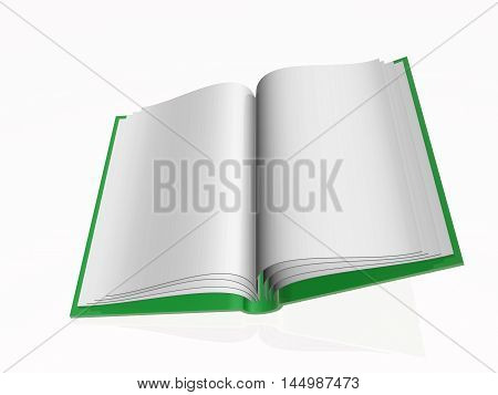 Green book white reflective background, 3D illustration.
