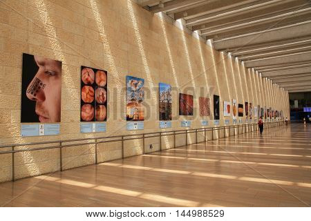TEL AVIV, ISRAEL - APRIL 8, 2016: Israel's Ben Gurion international airport Terminal 3, Departure Hall, Tel Aviv, Israel. We can see the achievements of Israeli science and technology on the walls