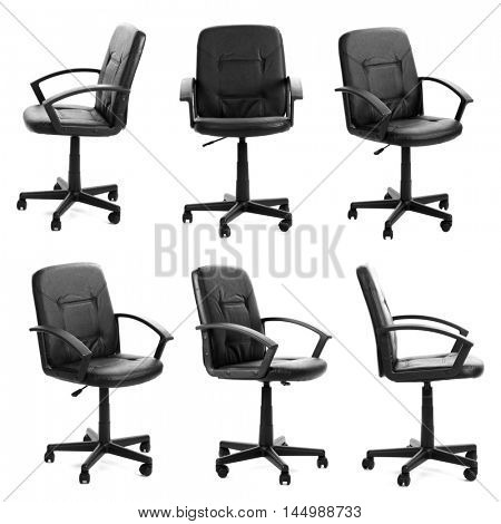 Collage of black office chair isolated on white