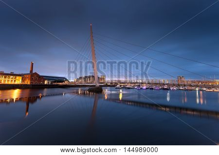 Early morning at the River Tawe and the Millennium bridge in Swansea