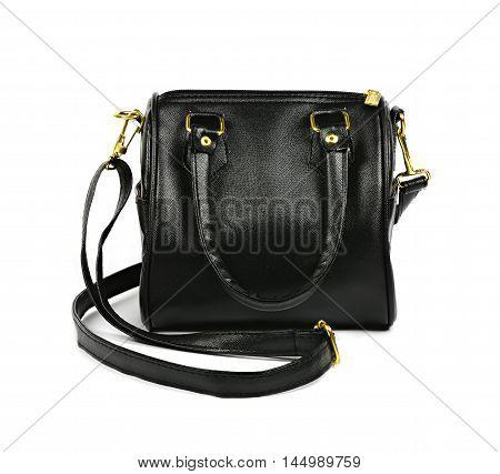 black leather fashion hand bag on white