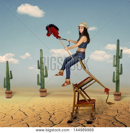 A girl is riding not real horse on the prairie. It made from chairs.