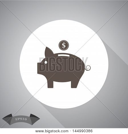 Vector piggy money bank  Vector icon for web and mobile.