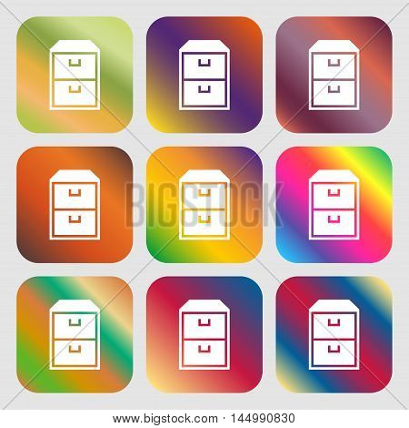 Nightstand Icon . Nine Buttons With Bright Gradients For Beautiful Design. Vector