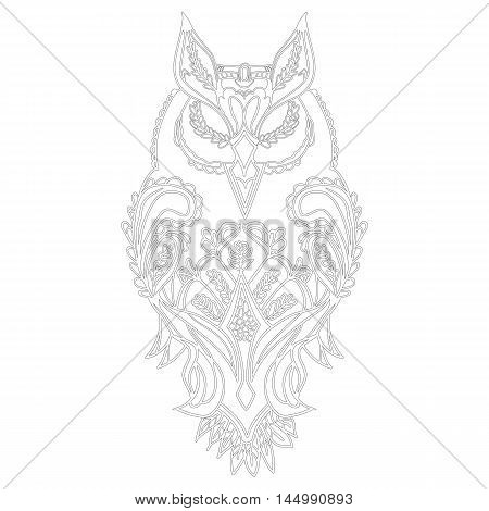 Coloring pages owl high detailed isolated on white background. Vector illustration of a monochrome sketch with figured pattern