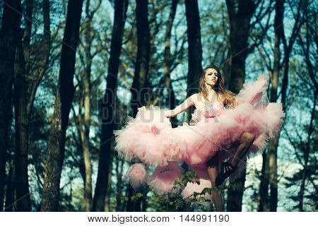 Glamour Girl Dancing In Forest