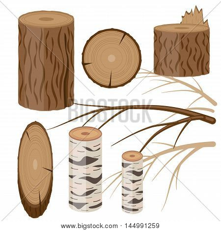 Vector flat set of wood blocks and branches isolate on white. Can be used in decoration of thematic articles and posts as design element or background.