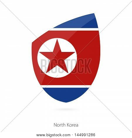 Flag of North Korea in the style of Rugby icon. Vector Illustration.