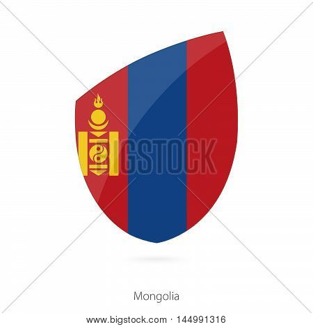 Flag of Mongolia in the style of Rugby icon. Vector Illustration.