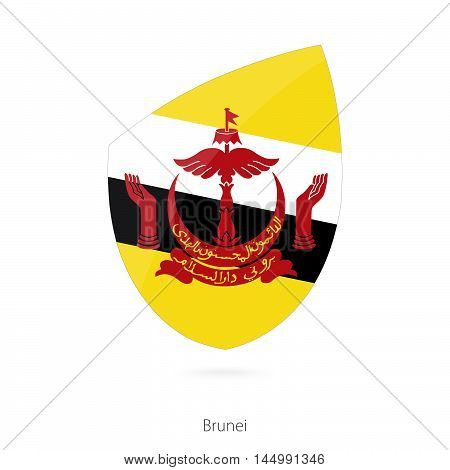 Flag of Brunei in the style of Rugby icon. Vector Illustration.