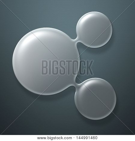 set 8. circle glossy glass on gray mesh metal wall. 3d illustration background.