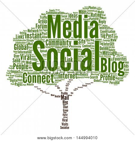 Vector concept or conceptual social media marketing or communication tree word cloud isolated on background, metaphor to networking, community, technology, advertising, global, worldwide tagcloud