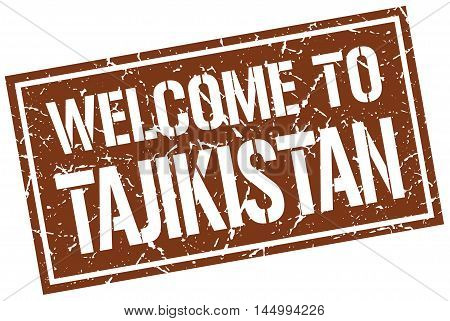 welcome to Tajikistan. stamp. grunge square sign