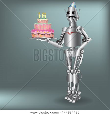 a robot from the future with cake vector waiter
