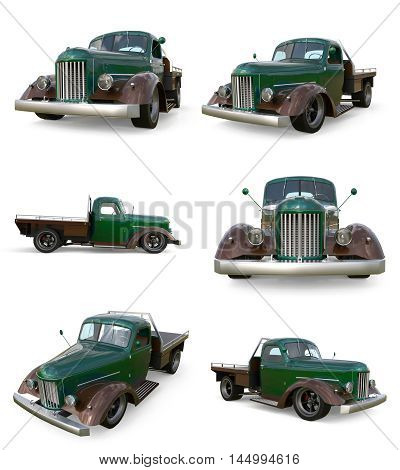 Set old restored pickup. Pick-up in the style of hot rod. 3d illustration. Green car on a white background