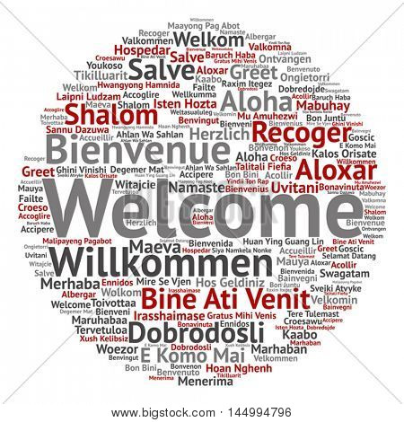 Vector concept round abstract welcome or greeting international word cloud in different languages or multilingual, metaphor to world, foreign, worldwide, travel, translate, vacation or tourism