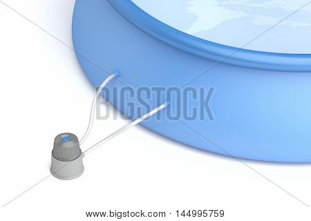 Inflatable swimming pool and filter pump, 3D illustration