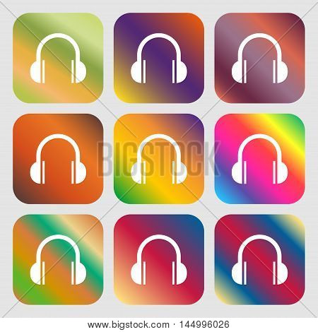 Headphones Icon . Nine Buttons With Bright Gradients For Beautiful Design. Vector