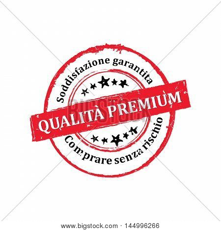 Best Quality, Satisfaction Guaranteed, Buy without risks (Italian Language)  - grunge stamp / label, also for print. CMYK colors used. Grunge layer is applied exactly on the colored stamp.