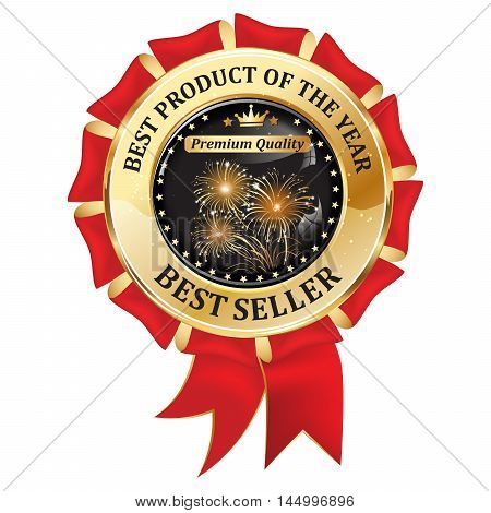Best seller, Best Product of the year, Premium Quality - elegant luxurious golden black red icon with fireworks, for business retail purposes.