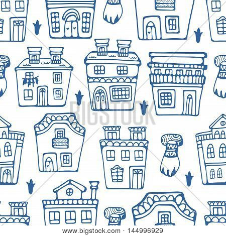 Seamless pattern wit traditional portuguese houses. Vector illustration