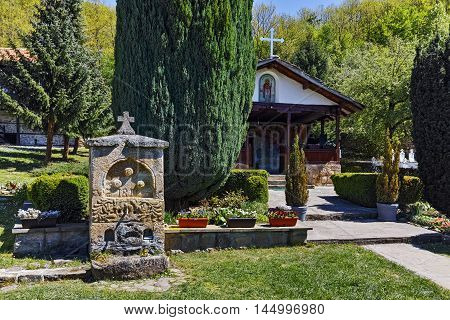Fountain and church in Temski monastery St. George, Pirot Region, Republic of Serbia
