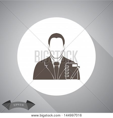 Businessman with notebook Vector icon for web and mobile.