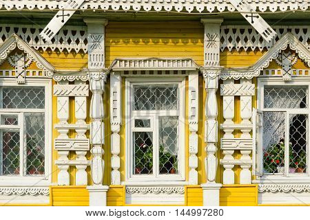 UGLICH RUSSIA - JULY 19 2016: Fragment of decorative elements of facade of museum of city life Uglich Russia