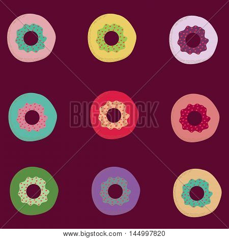 Vector cartoon set of different colored doughnuts isolated on violet. Food industry design element illustration for cooking sources.