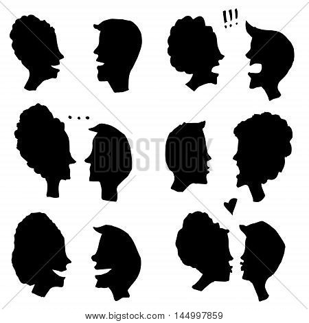 Vector simplified images of male and female silhouettes isolated on white. Illustration for articles and books design element postcard and printed production image.
