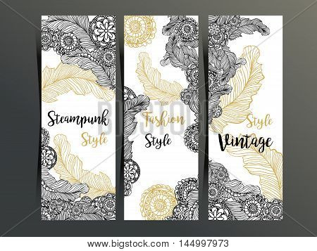 Vertical flyers or three fold brochure template with Steampunk decor, feathers and gear wheels elements. Fashion, vintage style advertising for website, corporate identity, shop layout and printing